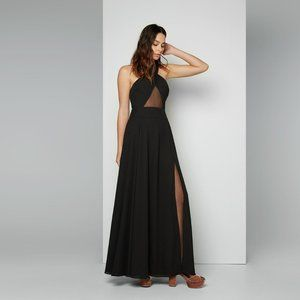 FAME AND PARTNERS Maisie Cross Gown, Black, Size 4